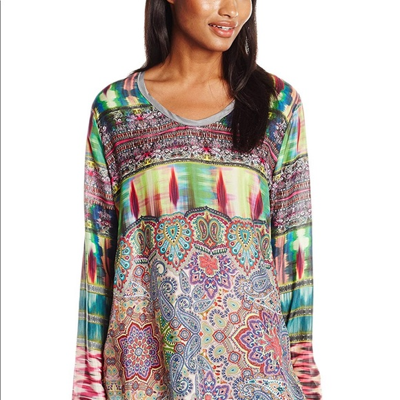 7cf43c81a Johnny Was Tops - Johnny Was Size Large Silk Tunic